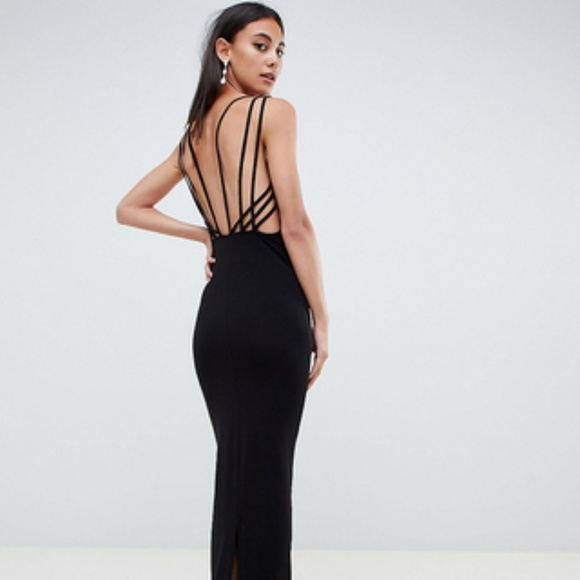 ba3607715a5 ASOS Dresses   Skirts - ASOS Triple Straps Cage Maxi Fitted Slit Dress 6